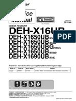 Pioneer Deh-x16ub x1650ub x1690ub Crt5366 Car Audio