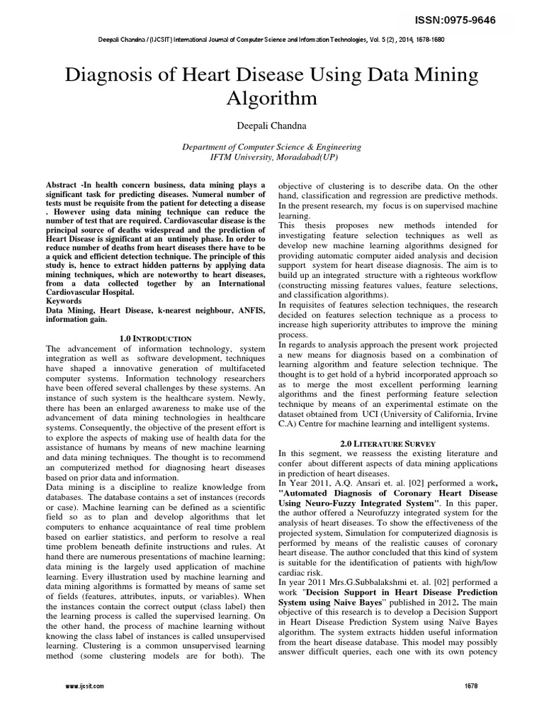 Diagnosis of Heart Disease Using Data Mining Algorithm