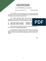 MTF of Uttarakhand for FCI Wheat Auctions on 1 September 2016