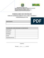 Formulário de Inscrição Tecnica Vocal