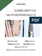 Inscrições Abertas Tecnica Vocal