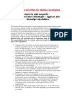 Typical Job Description Import_export _Manager