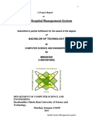 Hospital Management System Report | Class (Computer Programming