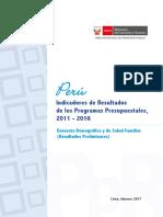 Peru Indicadores de PPR 2011 2016 ENDES