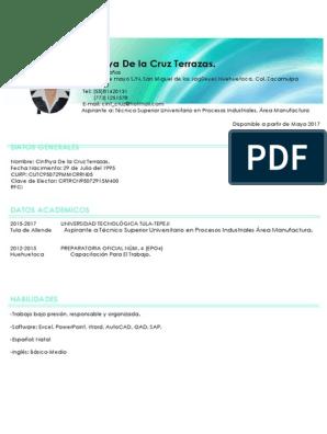 Cinthya De La Cruz Terrazas Datos Generales