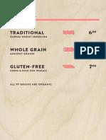 Pasta Flyer menu