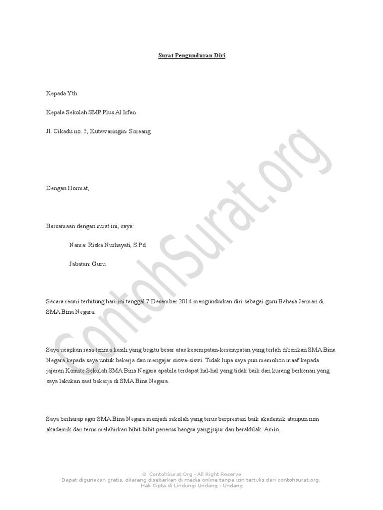 Contoh Surat Pengunduran Diri Guru Paud - Kumpulan Contoh ...
