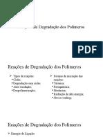Reações de Degradação Dos Polímeros