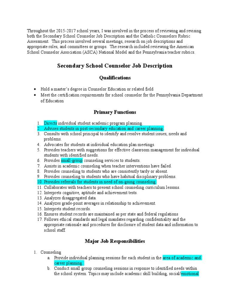 jd diocesan secondary school counselor | School Counselor | Teachers