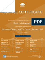 Databases Basics MS SQL Server January 2017 Certificate
