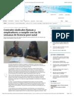 Centrales Sindicales Llaman a Empleadores a Cumplir Con Las 14 Semanas de Licencia Post Natal