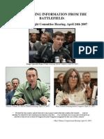 """""""The {Untold] Tillman Story"""" Appendix B1 --  April 24, 2007 Congressional Hearing (7/08/10)"""