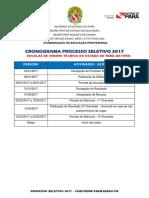 CRONOGRAMA SELETIVO 2017