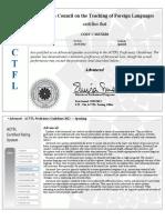 actfl speaking certificate  advanced-low