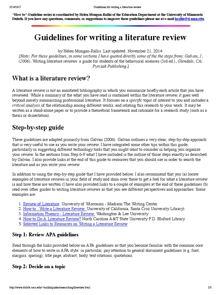 guidelines literature review