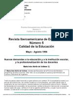 Nuevas demandas a la educación y a la institución escolar, y la profesionalización de los docentes