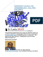 SRI LANKA INDEPENDENT COUNCIL FOR NEWS MEDIA STANDARDS ACT – FULL TEXT (1ST DISCUSSION DRAFT).docx