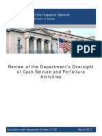Review of the Department's Oversight of Cash Seizure and Forfeiture Activities 2017