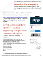 30 TOP MOST MAGNETIC CIRCUIT - Electrical Engineering Multiple Choice Questions and Answers Electrical Engineering Multiple Choice Questions