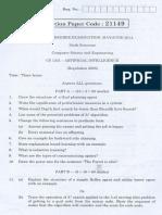 CS1351 AI Question Paper May June 2014