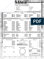 Mage 1 Ascension Character Sheet Editable Leisure Activities