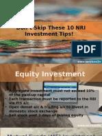 Don't Skip These 10 NRI Investment Tips
