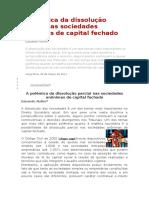 A Polêmica Da Dissolução Parcial Nas Sociedades Anônimas de Capital Fechado