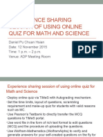 Experience Sharing Session of Using Online Quiz