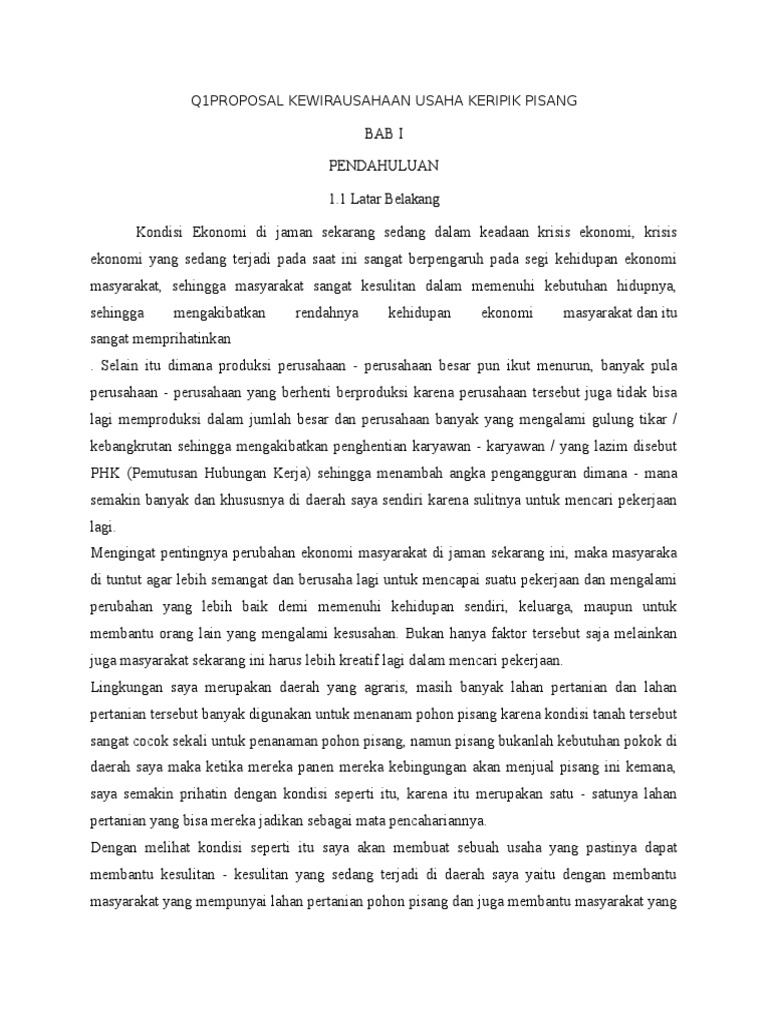 Proposal Kewirausahaan Usaha Keripik Pisang