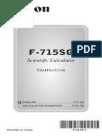 Canon F-715SG Manual