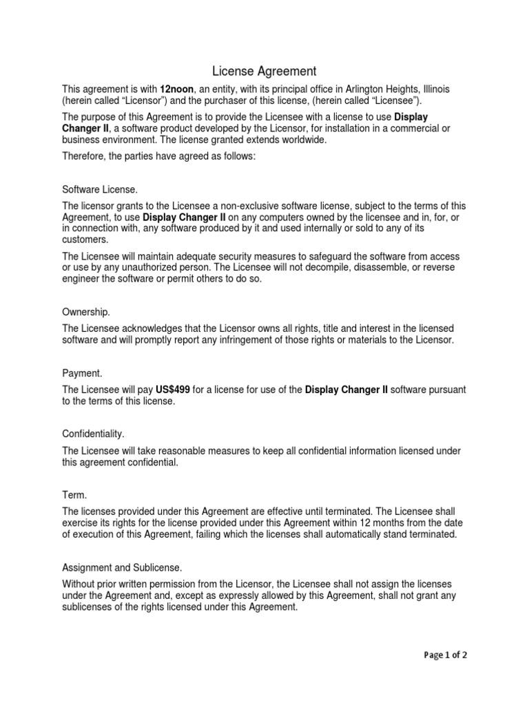 12noon Display Changer Ii License Agreement License Indemnity
