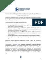 Recommendations of Transparency International Georgia Regarding the Open Parliament Georgia Action Plan 2017-2018