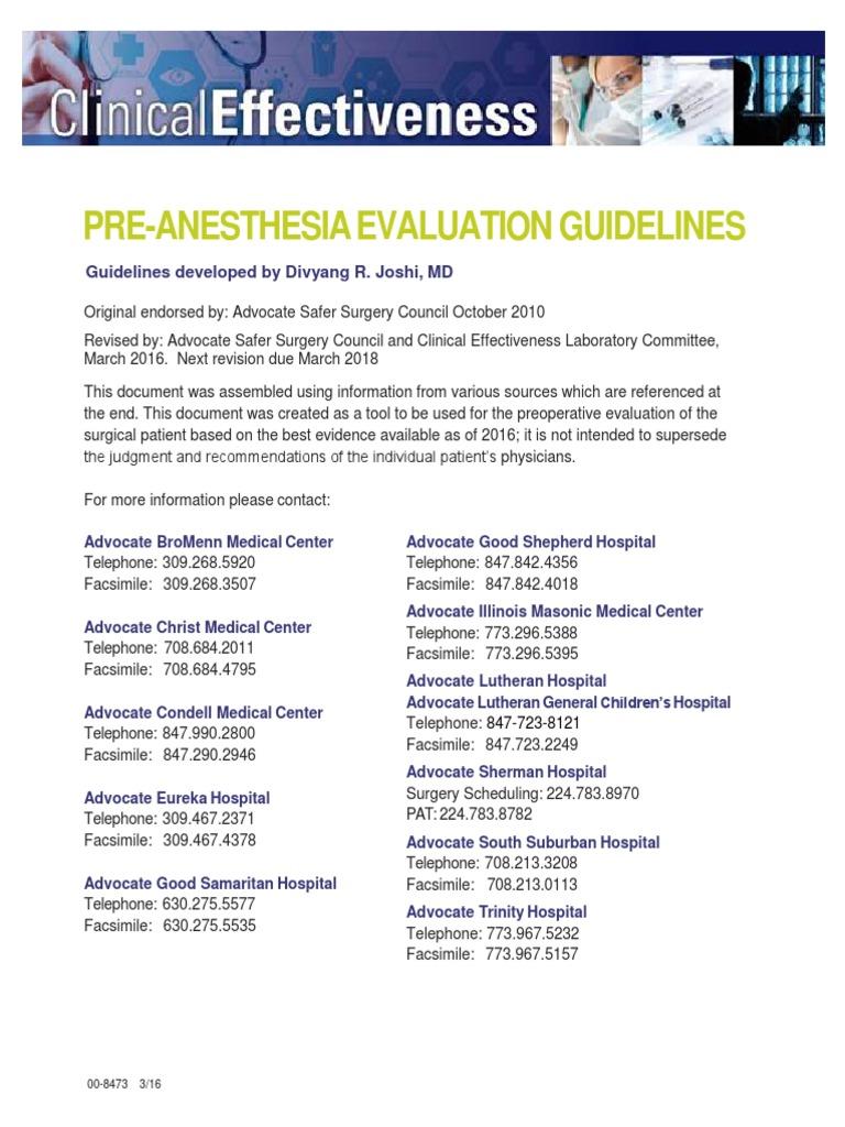 Pre Anesthesia Evaluation Guidelines | Artificial Cardiac