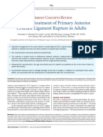 Operative Treatment of Primary Anterior Cruciate Ligament Rupture in Adults