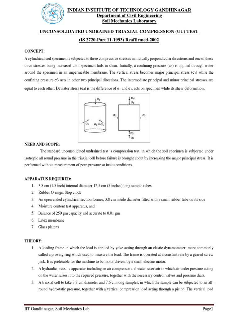 Unconsolidated Undrained Test Lab Manual | Soil Mechanics | Stress ( Mechanics)