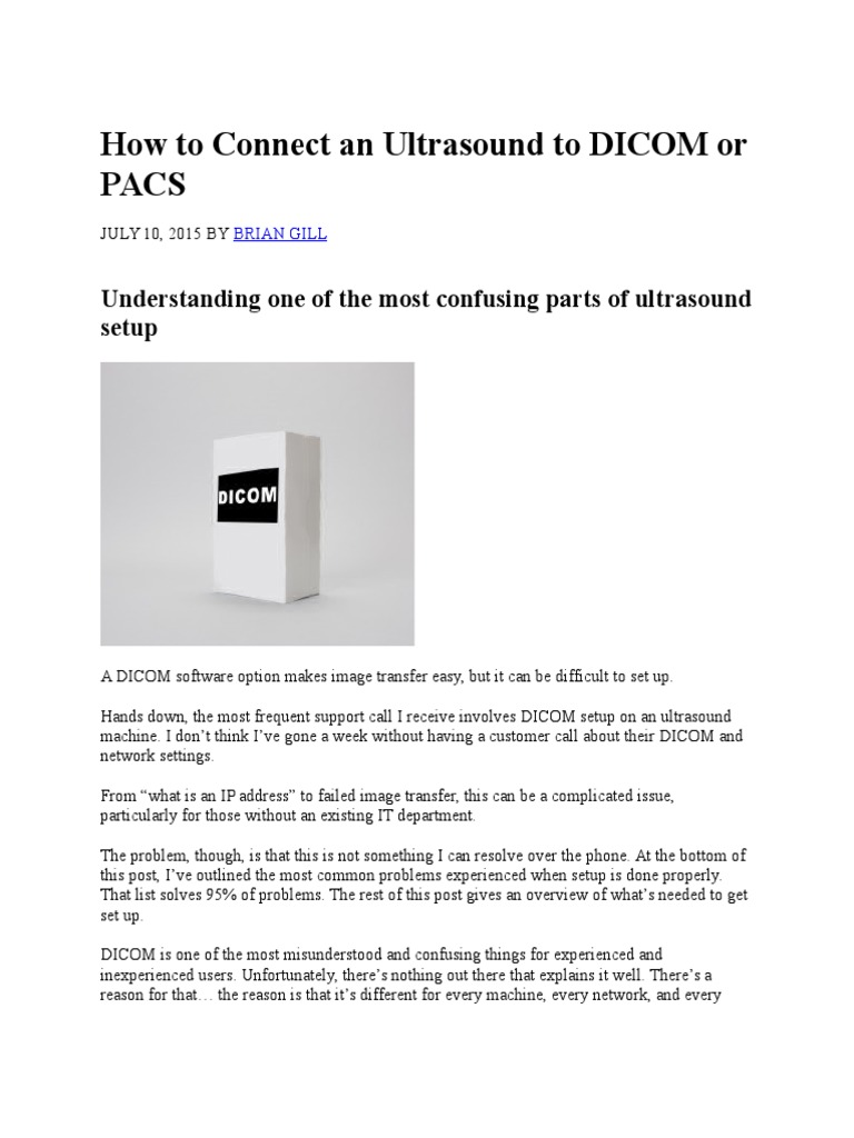 How to Connect an Ultrasound to DICOM or PACS   Medical Imaging ...