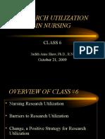 N 493 2009 Class #6 Research Utilization in Nursing.doc