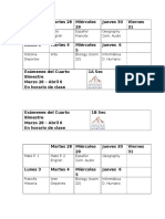 Calendario Exámenes Bimestre IV 2016-2017