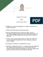 Arthur W. Pink - 15th July 1952
