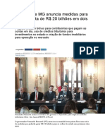 Governo de MG anuncia medidas para gerar receita de R$ 20 bilhões em dois anos