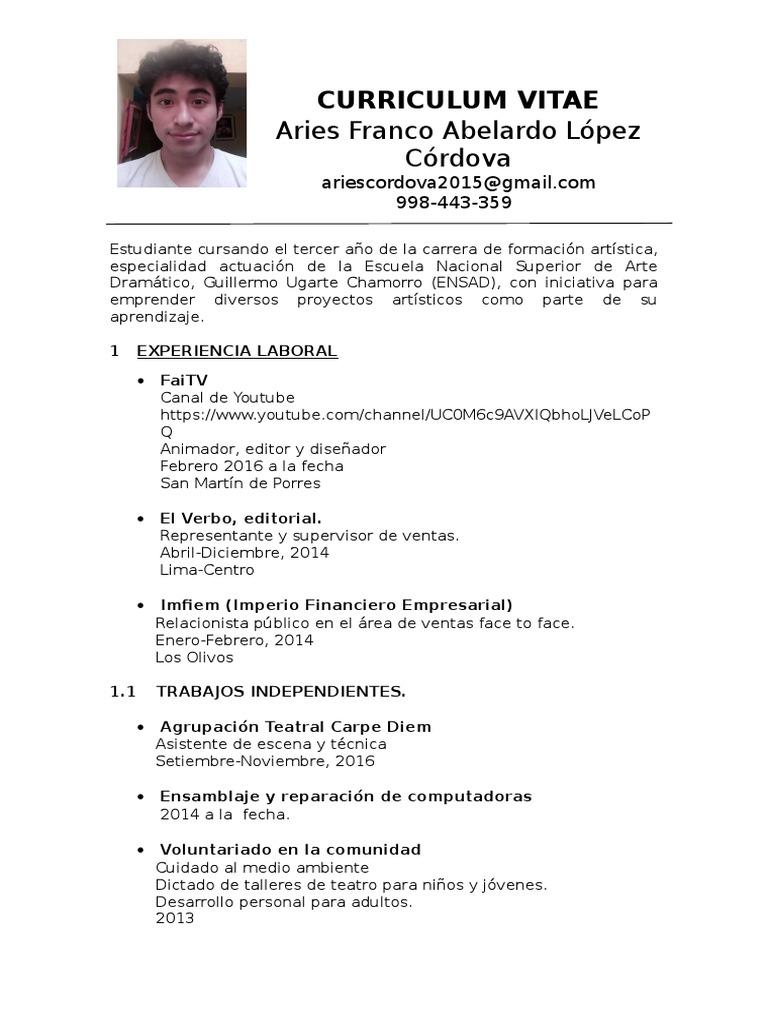 Lujoso Curriculum Vitae Independiente Del Artista Ornamento ...