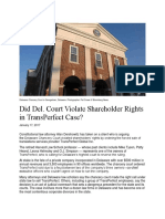 Did Del. Court Violate Shareholder Rights in TransPerfect Case?