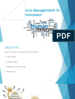 Human Resoure Management in Changing Environment