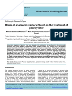 Reuse of Anaerobic Reactor Effluent on the Treatment of Poultry Litter
