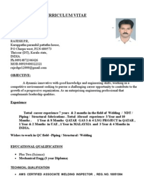 Rajesh Resume for QA/QC PIPING AND WELDING INSPECTOR   Pipe