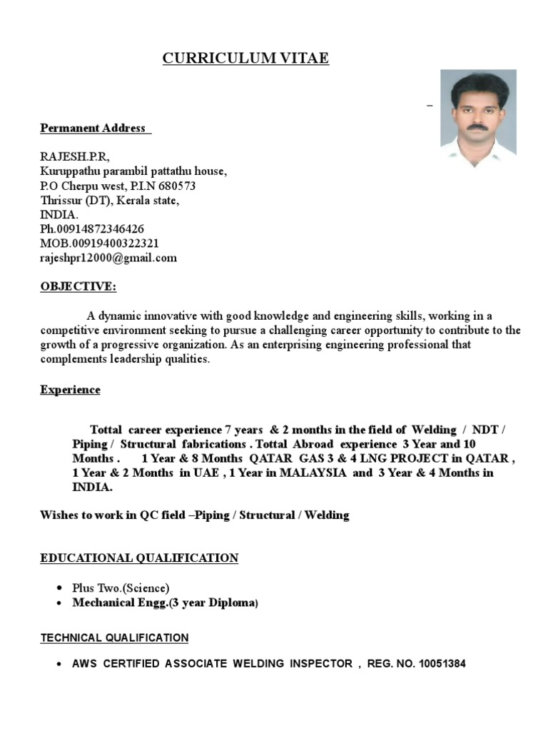 ndt inspector resume - Dcbuscharter.co