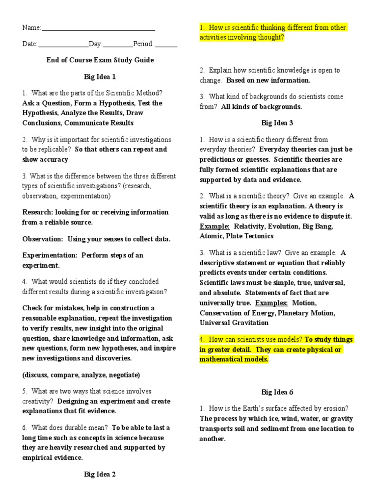 6th Grade Review Key Study Guide End Of Course Exam Scientific