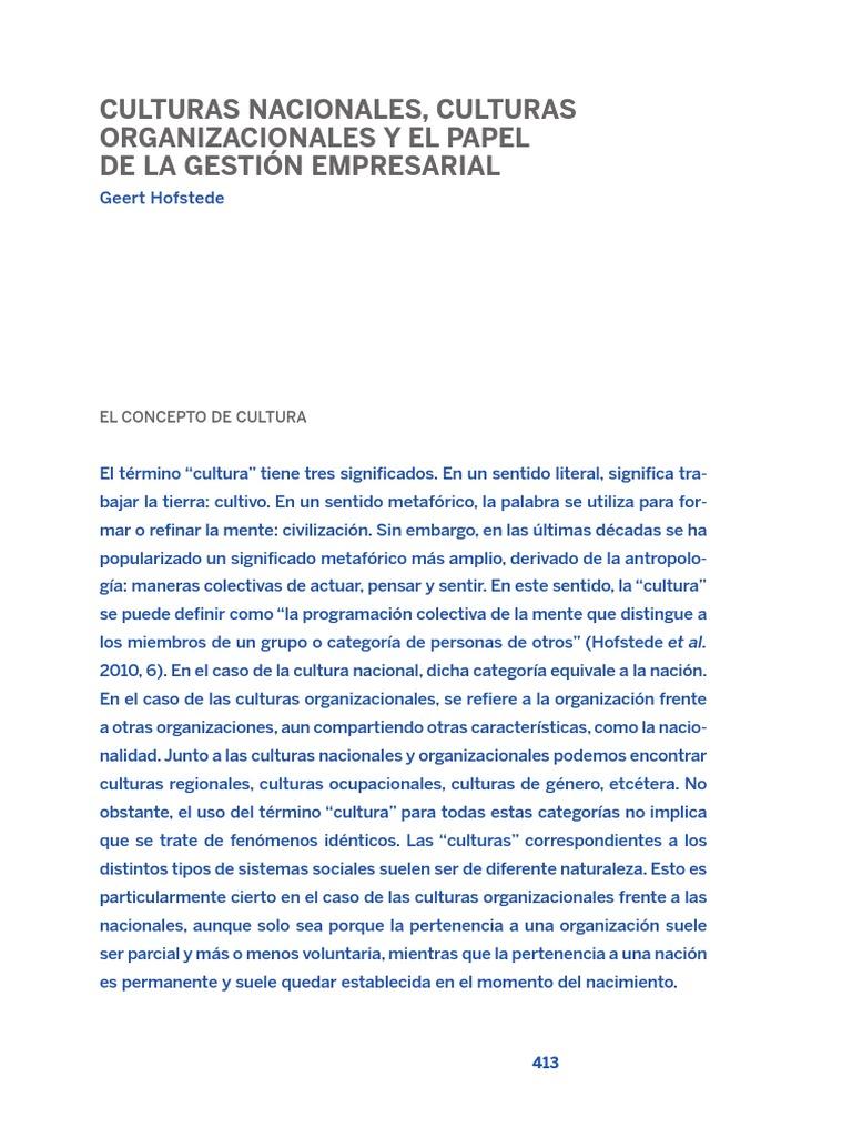 HOFSTEDE, G. Culturas Nacionales, Culturas Organizacionales y El ...