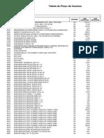 Tabela de Insumos - Seinfra