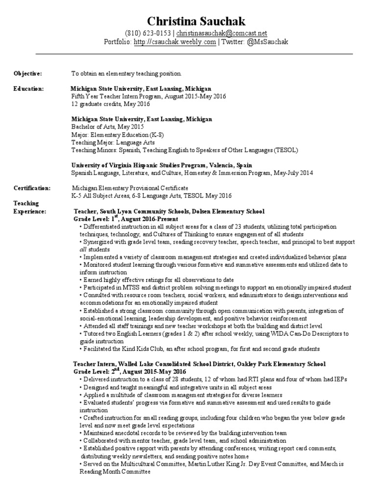 Electronic Resume Christina Sauchak English As A Second Or Foreign